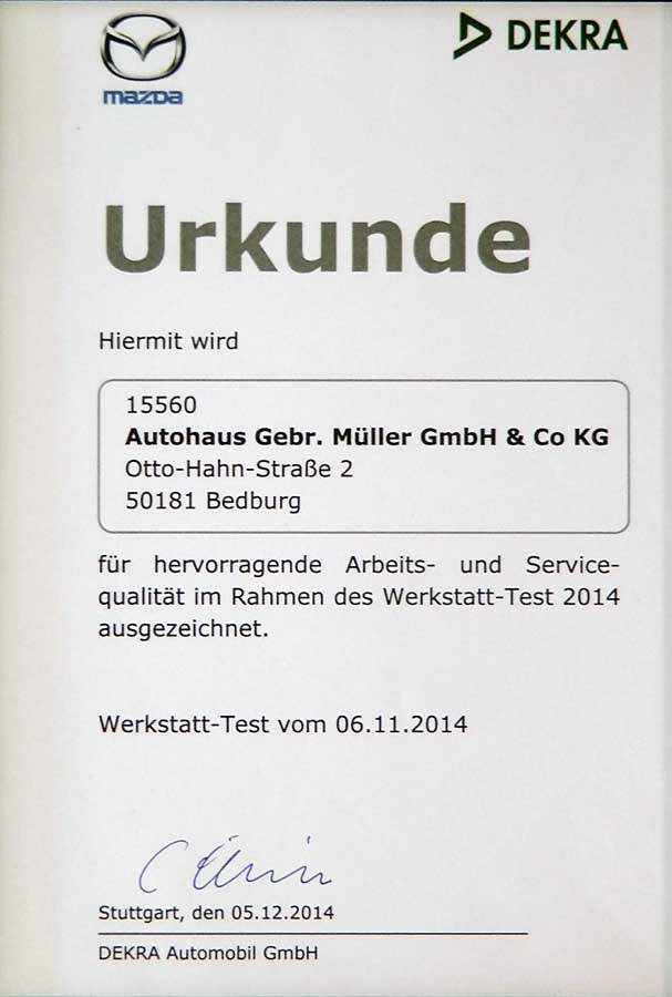 DEKRA Urkunde 2014