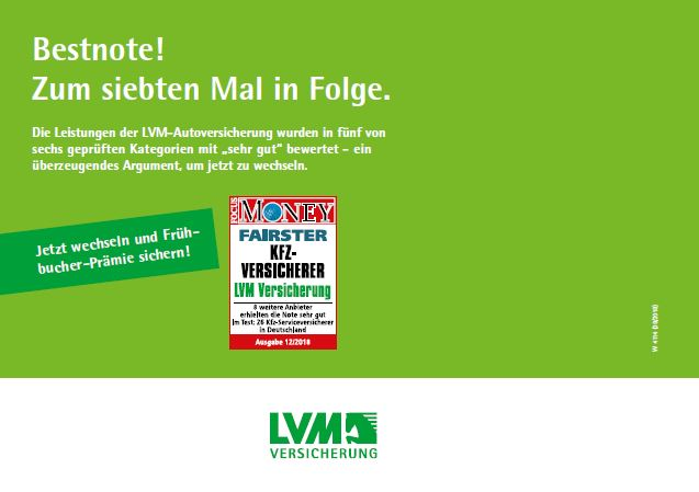 LVM KfZ Versicherung Money zum 7ten Mal Bestnote